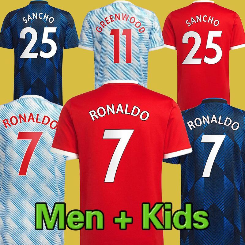 # 7 Ronaldo # 25 Sancho Home Red Soccer Jersey 2021/2022 # 11 Greenwood # 18 b.fernandes بعيدا كرة القدم قميص 21/22 # 10 راشفورد # 6 بوجبا 3rd كرة القدم موحدة للأطفال عدة