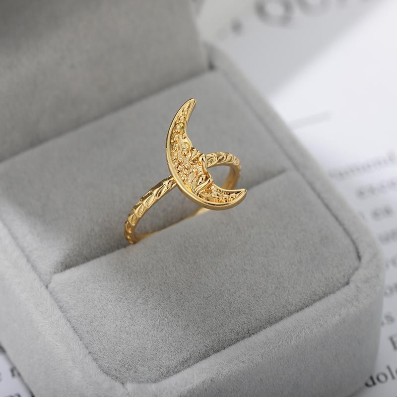 Anillos de acero inoxidable de la luna de moda para las mujeres anillo de oro femenino joyería de moda chrismas regalos boda fiesta cluster