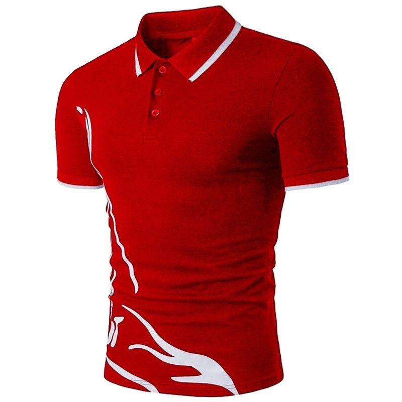 Мужская футболка в стиле отворотный стиль тонкий напечатанный рубашка поло Летняя дышащая с коротким рукавом