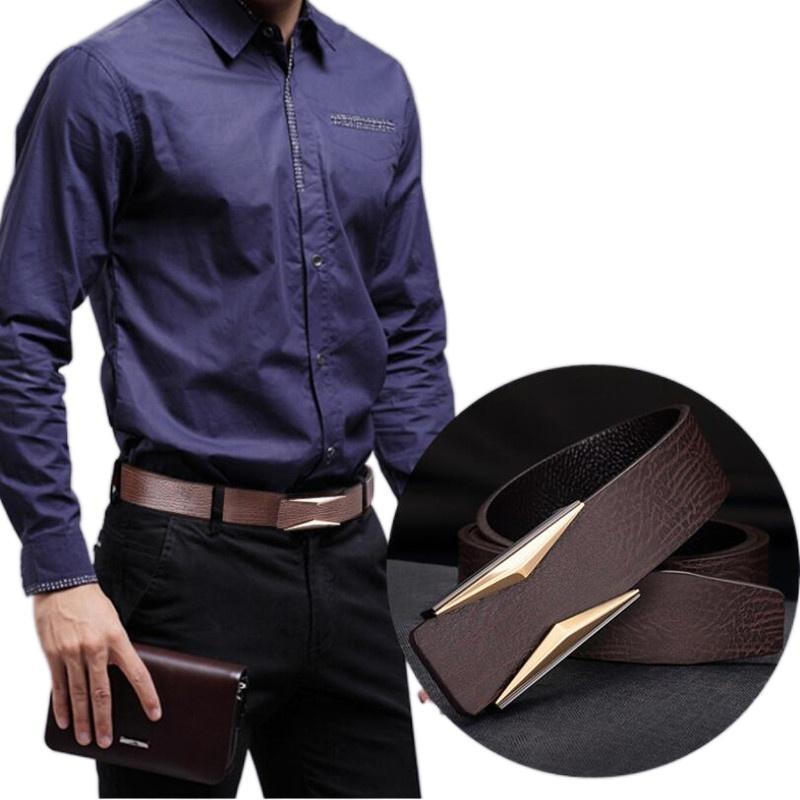نمط الرجال جلد طبيعي حزام مصمم فاخرة الرجال المعادن السلس مشبك الترفيه جودة عالية جينز حزام أحزمة