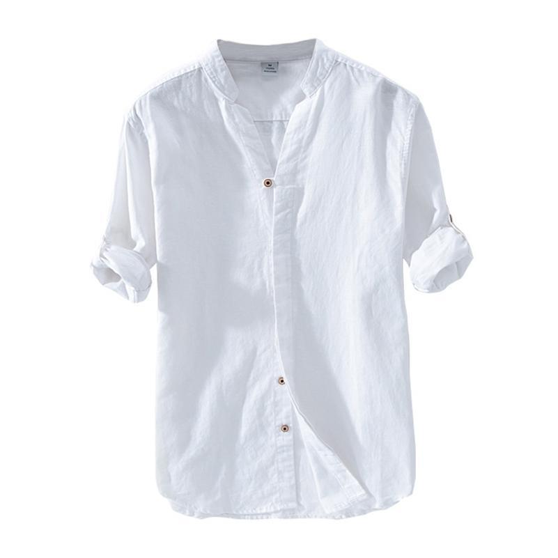 Pamuk Keten Casual Gömlek erkekler için temel klasik beyaz gömlek sonbahar erkek uzun kollu standı yaka nefes erkek giyim 210706