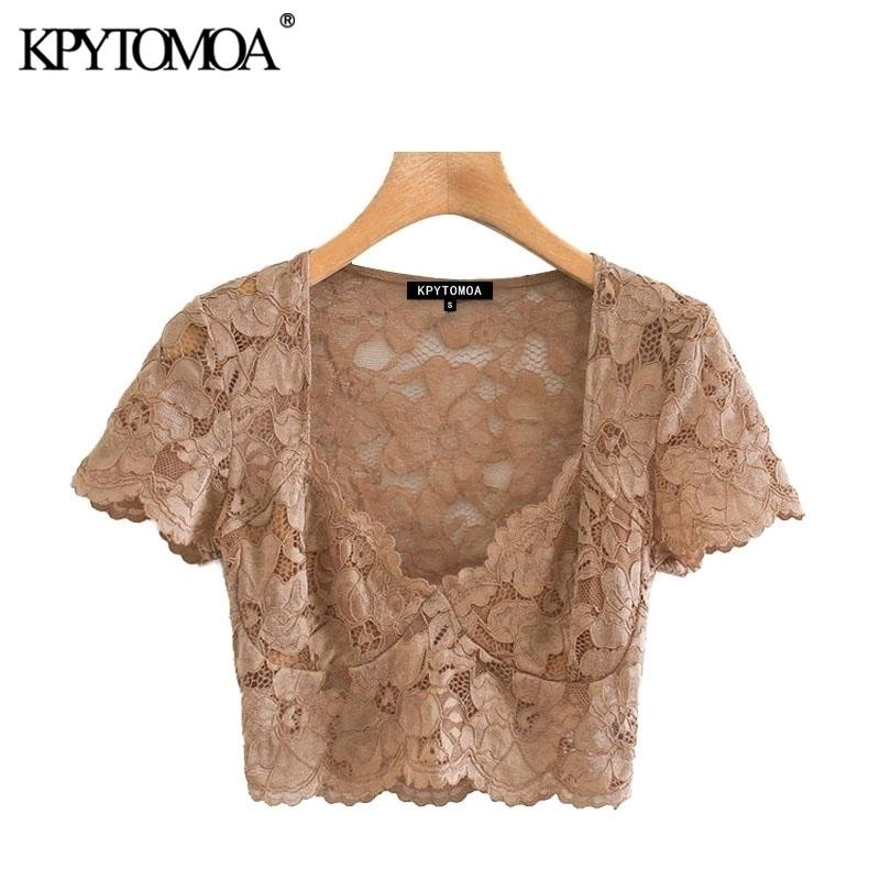 KPYTOMOA Женщины Сексуальная мода Смотреть сквозь кружевные подрезанные блузки Винтажные V-образные шеи с коротким рукавом женские рубашки Blusas Chic Tops 210320