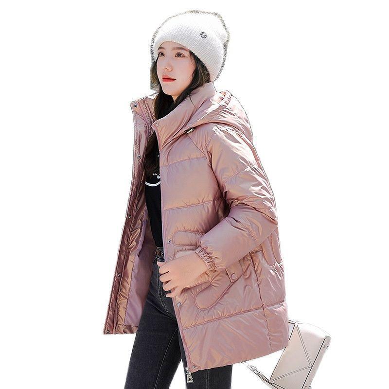Kadın Aşağı Parkas Kadınlar Kış Kapüşonlu Rüzgar Geçirmez Büyük Cep El Tasarım MIDI Parlak Ceket Kirpi Ceket Pamuk Yastıklı Dış Giyim Palto