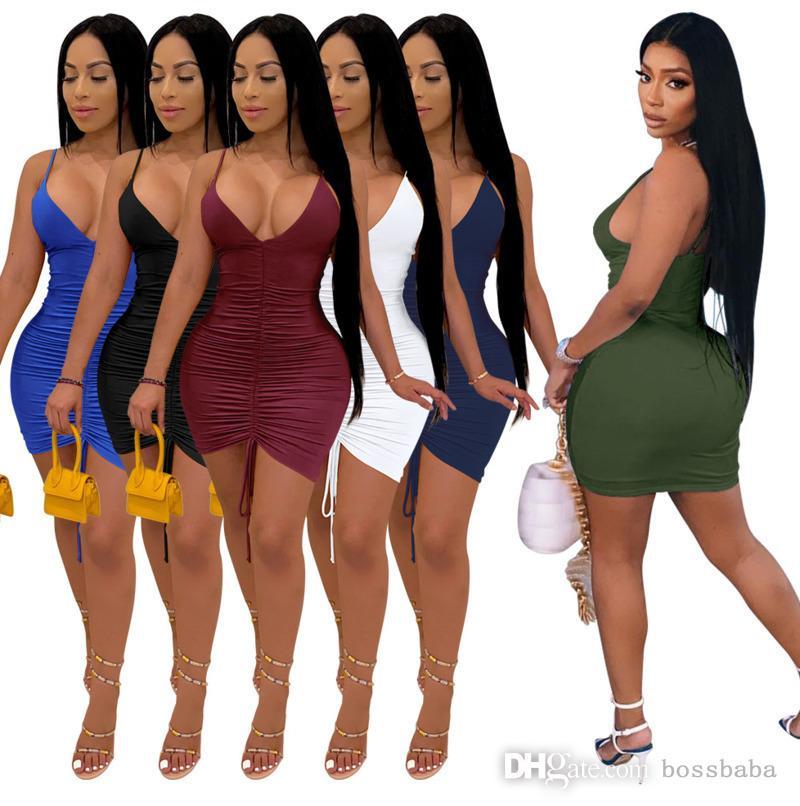 Сексуальные женские платья Повседневная шнурша MIDI юбка Слинг без рукавов мода твердый цвет глубокий V шеи тонкий корпус карандаш платье дизайнеры