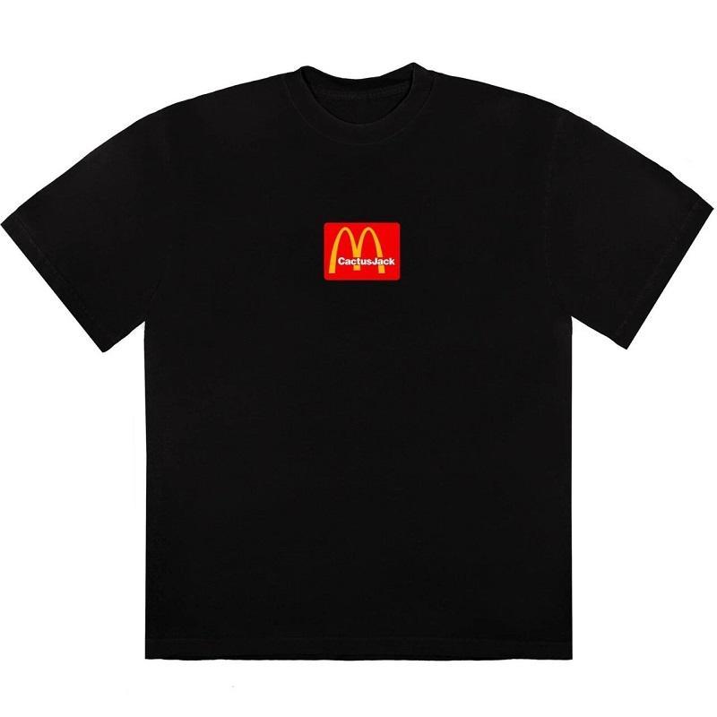 여름 티셔츠 패션 트래비스 패스트 푸드 탑스 선인장 스낵바 공동 작업 티셔츠 스케이트 보드 망 여성 거리 캐주얼 티셔츠