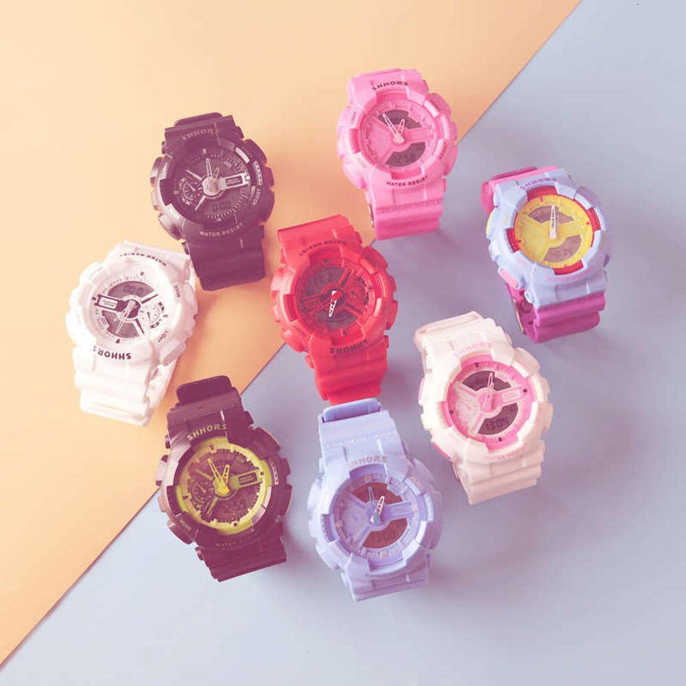 WatchXian тот же двойной дисплей li time мужчина и женские спортивные водонепроницаемые большой циферблат мода конфеты цвет желе электронный