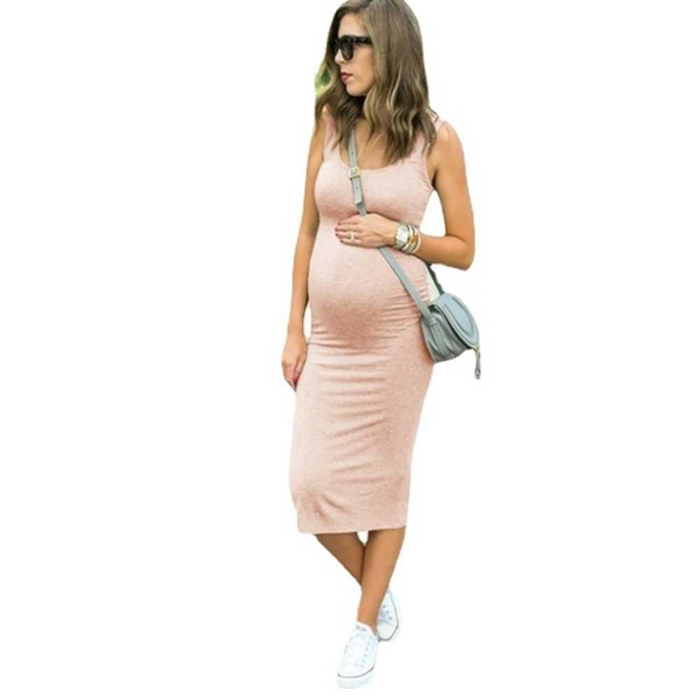 Summer Spring Dress Pregnant Clothes Women's Maternity Round Neck Elastic Waist Skirt Dresses Strap Skirts Fashion Solid Color Comfortable Soft Fabric G73RWL0