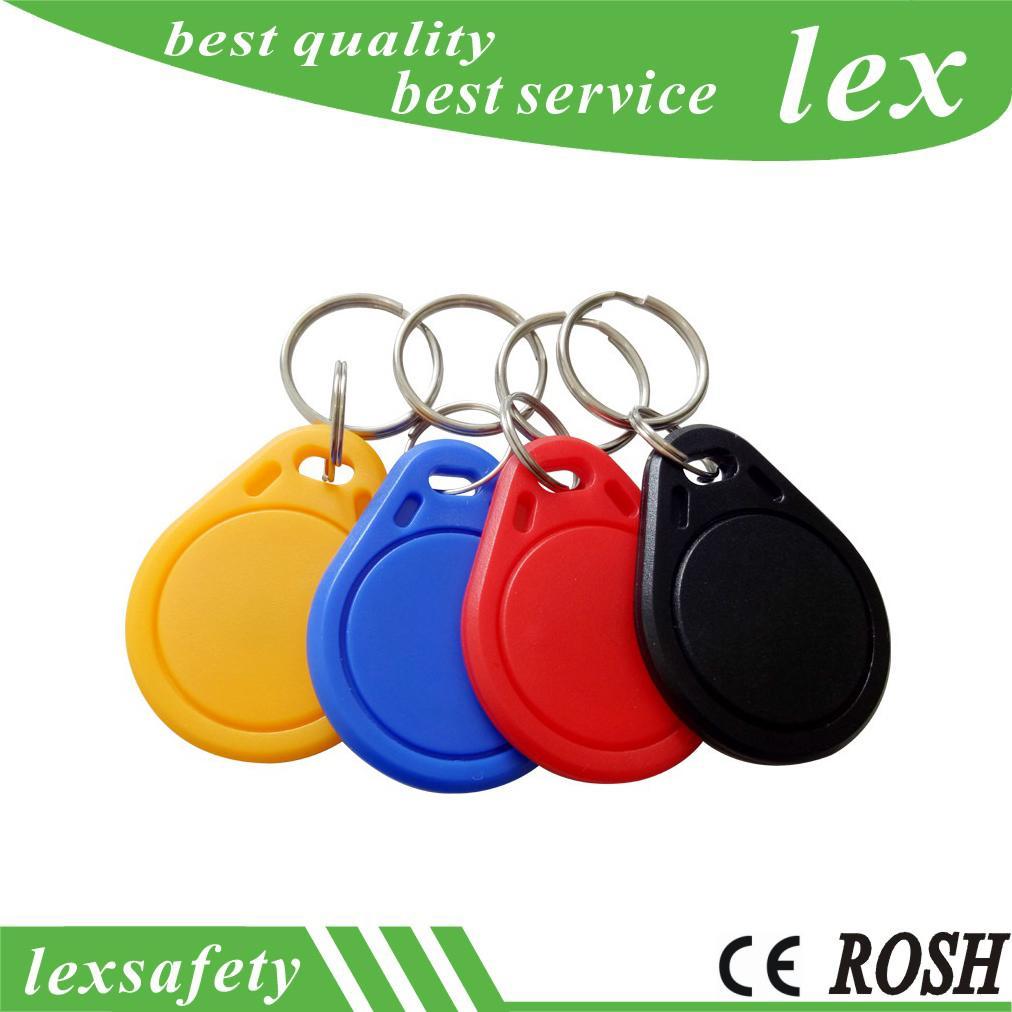 Porte-clés de 100 pcs FM1208-10 Keyfobs Keyfobs IC Clé FOBS Card ABS 7K CPU + 1K M1 Sans contact ISO / IEC 14443-A Tags Keyfob RFID