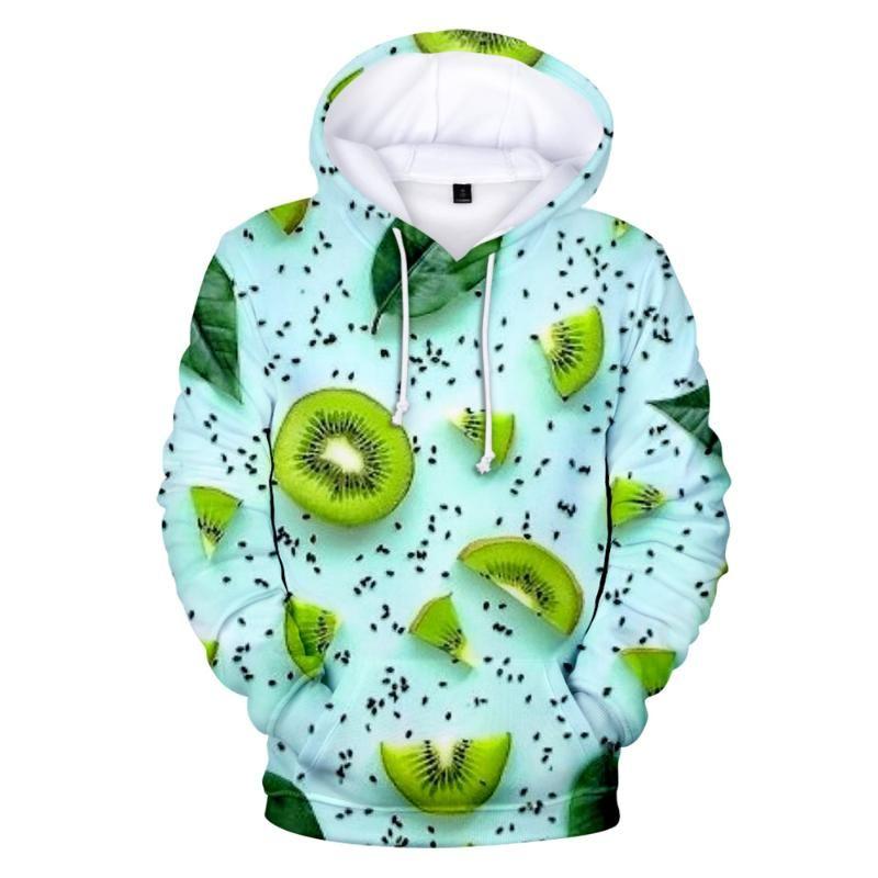 Hoodies drucken viele Kiwifruit Sweatshirts Mode Frauen Männer Full 3D Beiläufige Jungen / Mädchen Obst Mäntel Frauen
