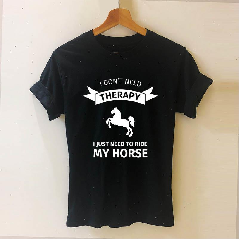 Womens T-Shirt Ich brauche keine Therapie, nur Reiten Reiten Kurzarm O Neck Baumwolle Mädchen T-tops Frau