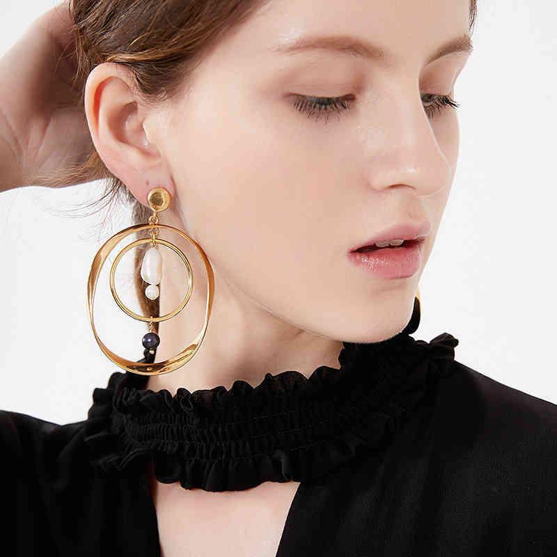 Amorita Boutique Unregelmäßige Multilayer-Loops Design Pearl Drop Ohrringe 210506