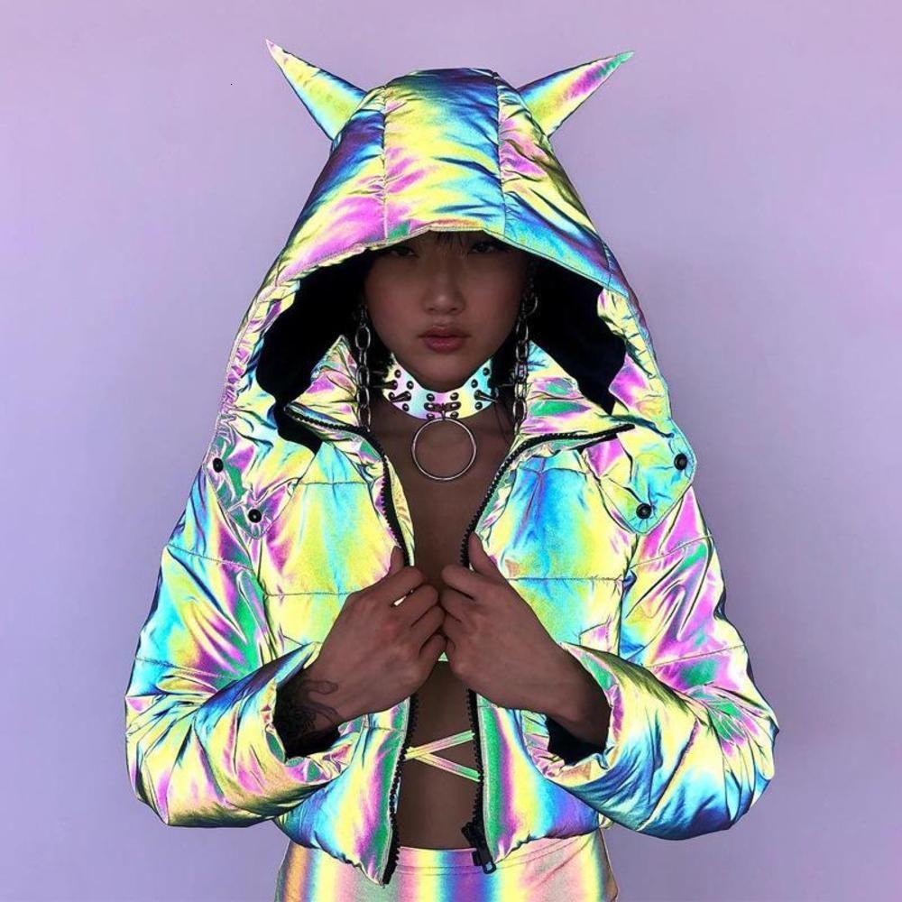2021 Femme hiver Veste manteau Trend Streetwear Machiche à glissière à glissière à manches longues à capuche réfléchissante librairie libérer des vêtements chauds