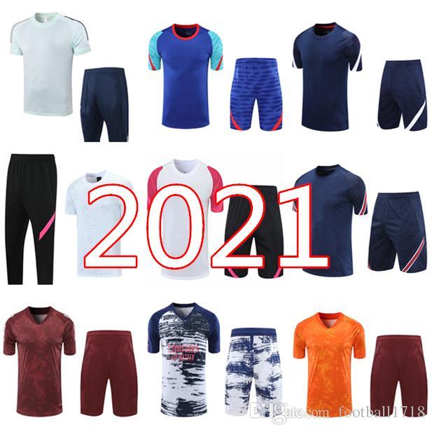 2021 레알 마드리드 남성 짧은 소매 셔츠 훈련 정장 Tracksuit 20 21 Mbappe Icardi 위험 반바지 축구 바지 축구 셔츠 유니폼 세트