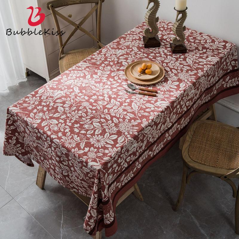 버블 키스 직사각형 테이블 천으로 집 먼지 증거 매트 붉은 꽃 패턴 커피 테이블 장식 쉽게 식탁보를 청소하기 쉽습니다.