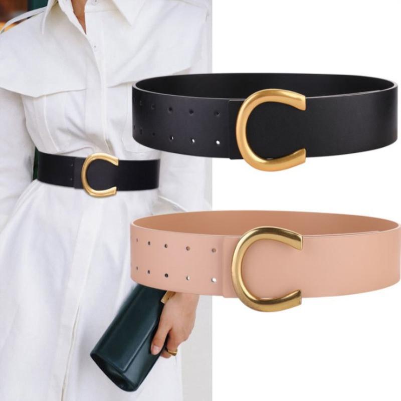 Cinturón para mujer Moda Hebilla suave C Letra Diseño Cinturones para mujer Ancho de cuero de vaca genuino 5,6cm 5 Color Alta calidad