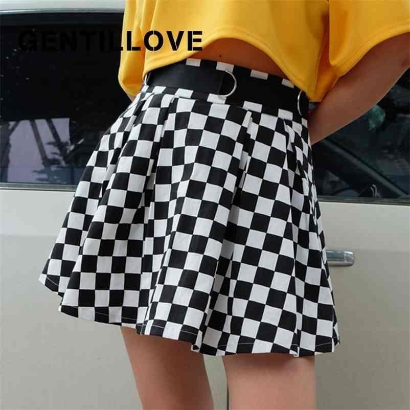 Frauen Plaid Falten hoher Taille Gürtel Kurzem Mini Casual Koreanischer Harajuku-Tanzclub Outwear A-Line-Rock 210324