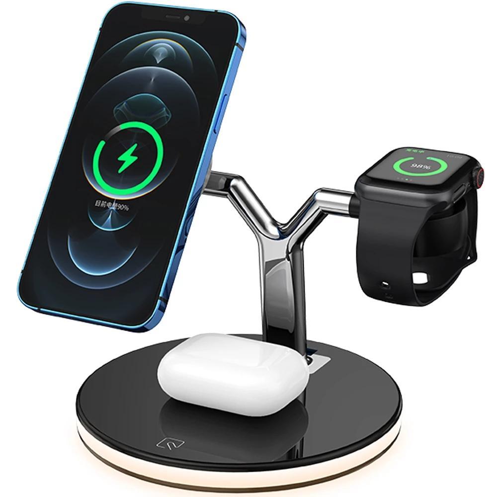 3 in 1 Manyetik Kablosuz Şarj 15 W Hızlı Şarj İstasyonu MagsaSafe iPhone 12 Pro Max Samsung Apple İzle Airpods Pro için Max Chargers
