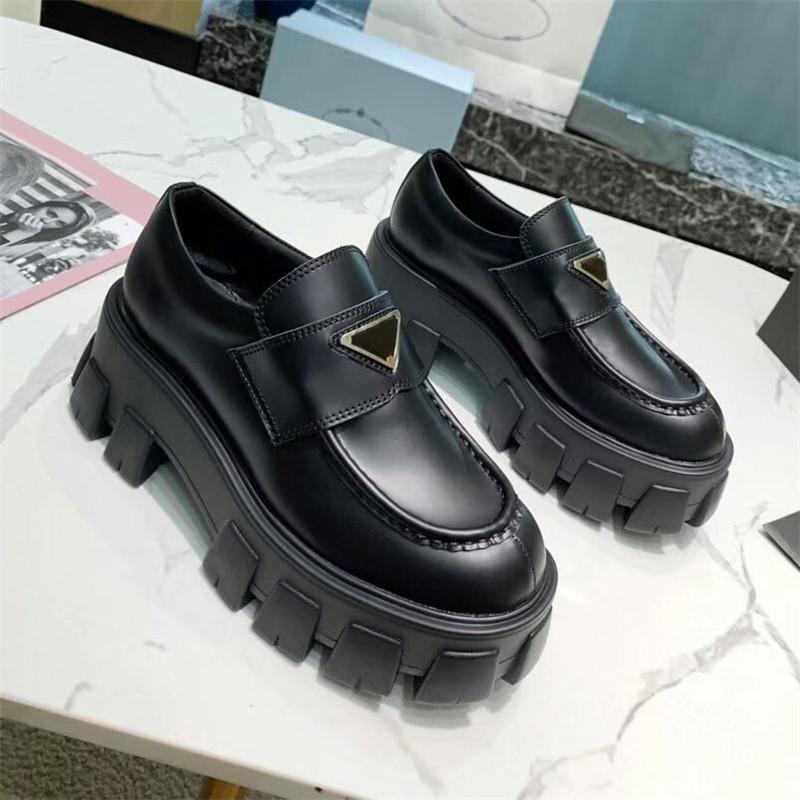 Tasarımcı ayakkabı yumuşak inek derisi loafer'lar kauçuk platformu sneakers siyah parlak deri terlik tıknaz yuvarlak kafa sneaker kalın alt ayakkabı