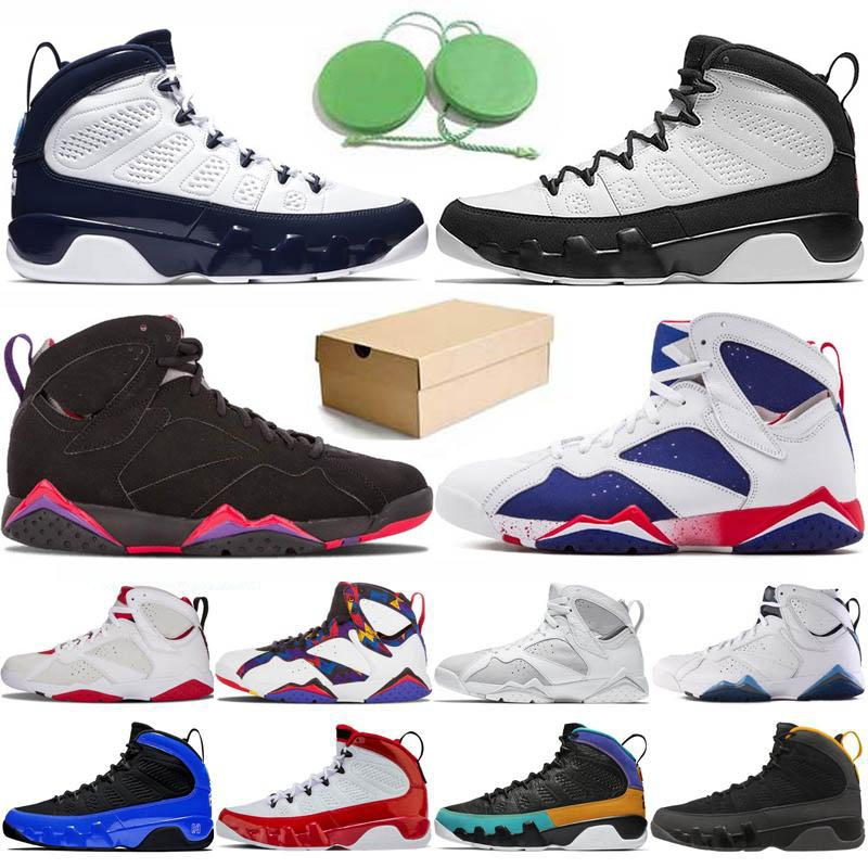 With Box Jumpman 9 9s Chaussures de basket-ball pour hommes Racer Blue 7 7s Bordeaux Hare Raptor Charcoal Tinker Alternate Olympic Ray Allen Patta Sweater Trainers Sneakers