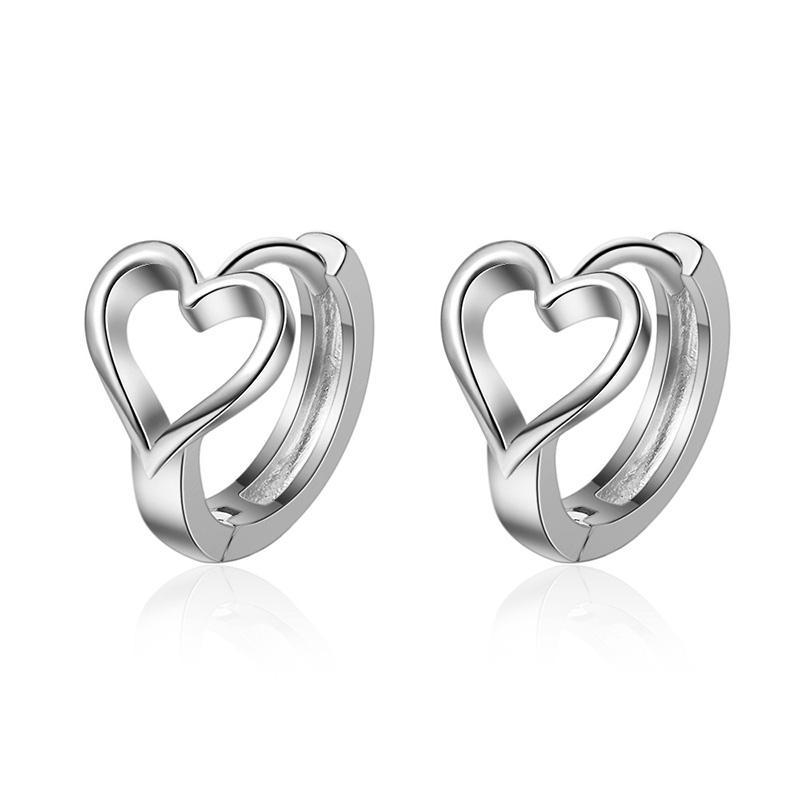 Temperamento de moda dulce amor oreja botón femenino aro huggie hoops huggies uñas hueco corazón forma de anillo pequeño pendiente adornos