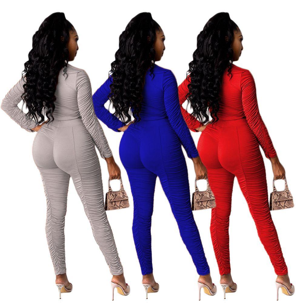 Red Gary Blue Set de dos piezas Conjunto de manga larga Tops de manga larga Pantalones apilados Traje de traje de chándal conjunto conjunto Juego de ropa deportiva apilada