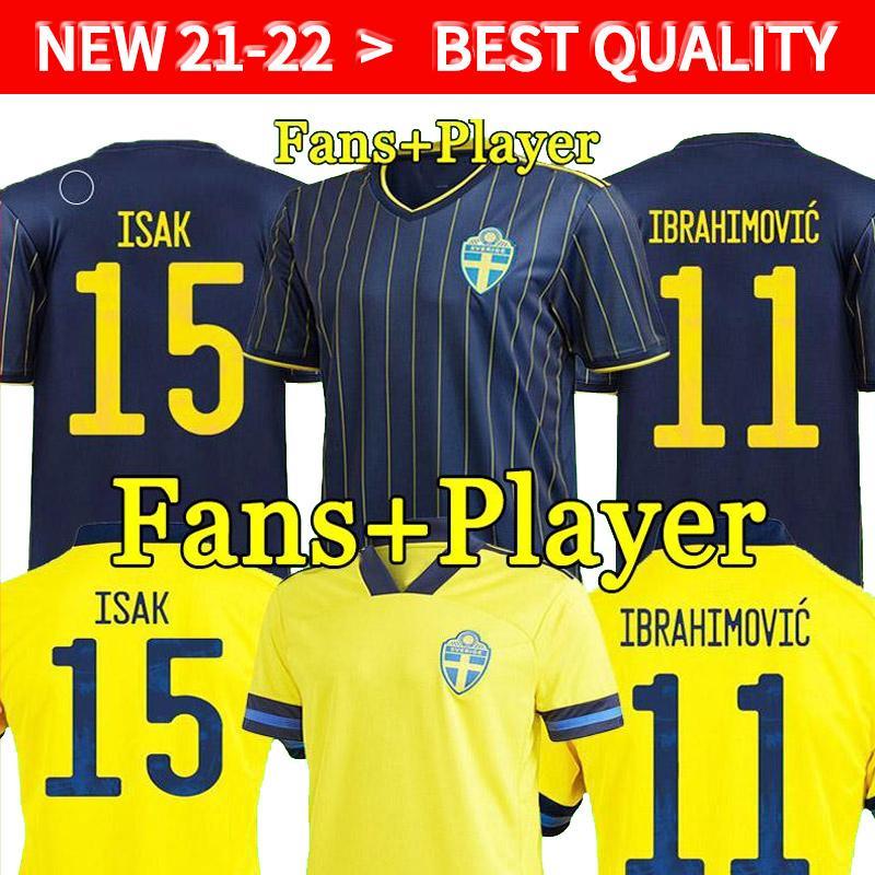 2021 Schweden Fußball Jersey Startseite 20 21 22 Ibrahimovic Kulusevski Berg Forsberg Larsson Tankovic Isak Claesson Football Hemd Männer + Kinder