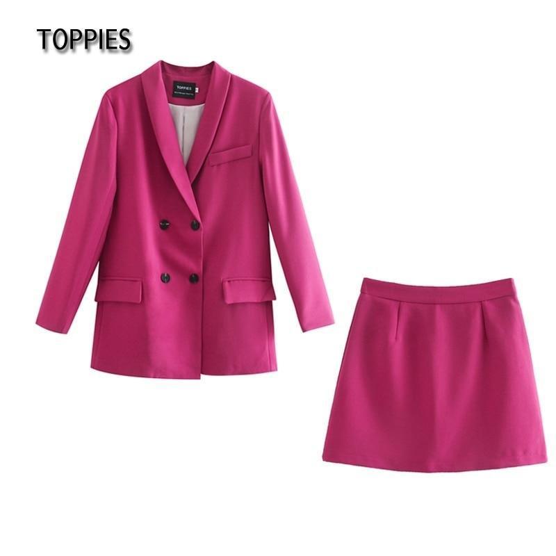 Vestido de duas peças Toppies Womens Blazer Terno conjunto Double Breasted Jacket 2021 Primavera Senhoras formais