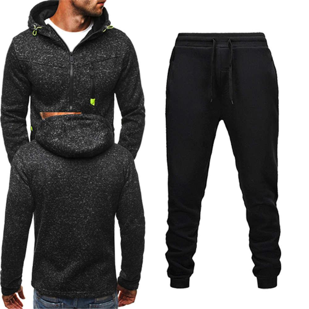 2020 Inverno Tracksuit Men Set Set Casual Hoodie Zipper Cappotto con cappuccio Cappotto con cappuccio Uomo + Pantaloni Sportswear Felpe Suit