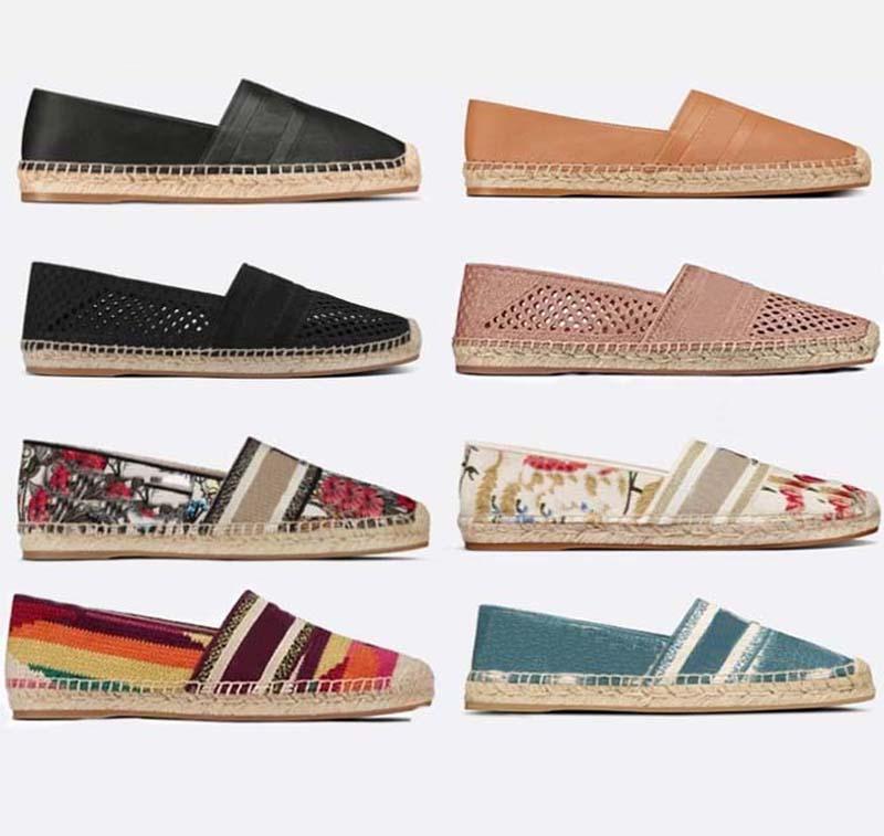 Classics Mocassins Espadrilles Luxurys Designers Chaussures Sneakers Sneakers Toile et véritable LambaSkin Deux Ton Ton Ton Toile Femmes Chaussure Maison011 02