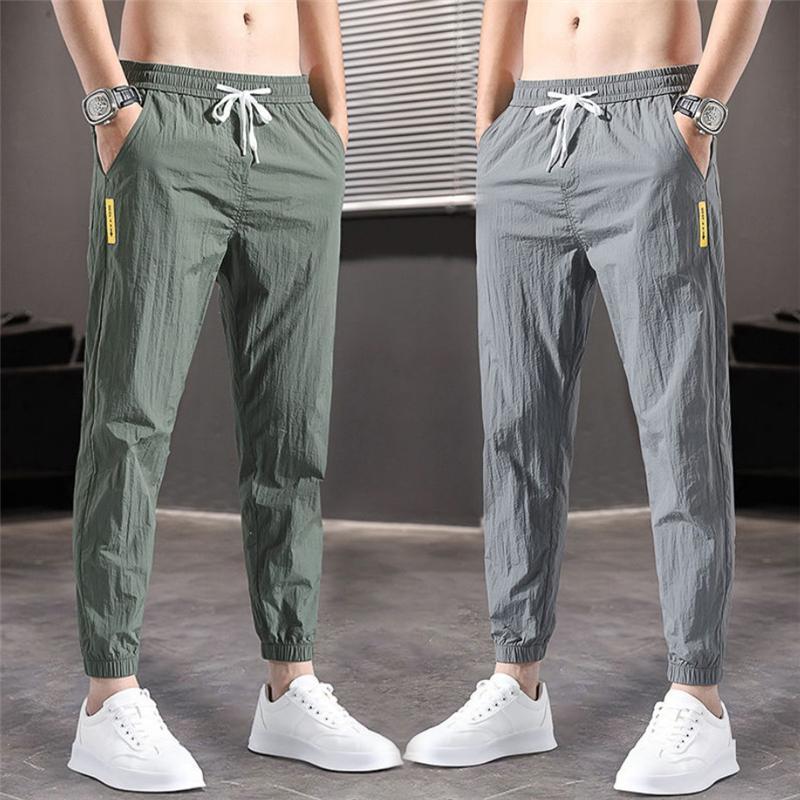 Erkek pantolon büyük boy buz ipek yaz ince bölüm trendy gevşek rahat spor hızlı kurutma harlan dokuz nokta