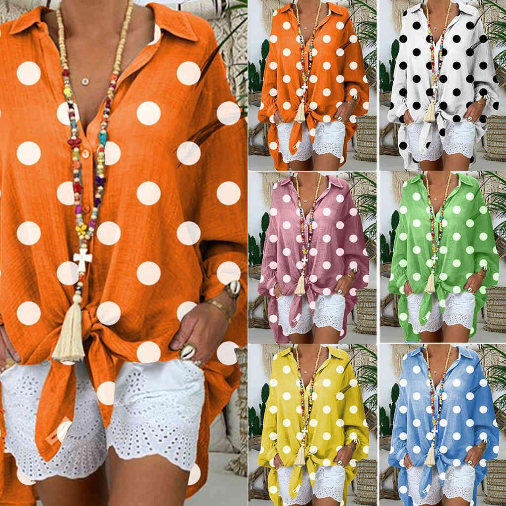 Женская рубашка женская круглая точка свободно кружевной блузкой для весны и лета 2021