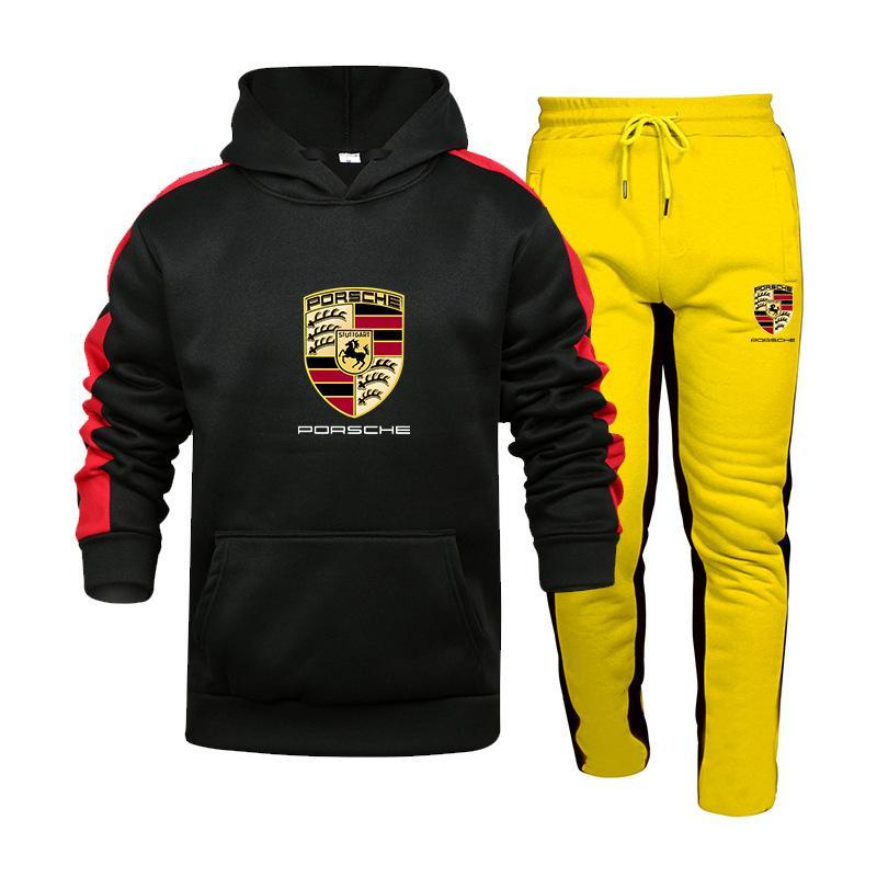 Two-Peça Sportswear Mens Com Capuz Moletom + Calças Porsche Car Logotipo Impressão Com Capuz Sportswear Terno Casual Esportes Terno
