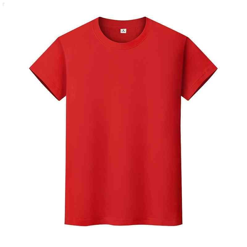 Yeni Yuvarlak Boyun Katı Renk T-Shirt Yaz Pamuk Dibe Gömlek Kısa Kollu Erkek ve Bayan Yarım Kollu 5Z3YOWG9