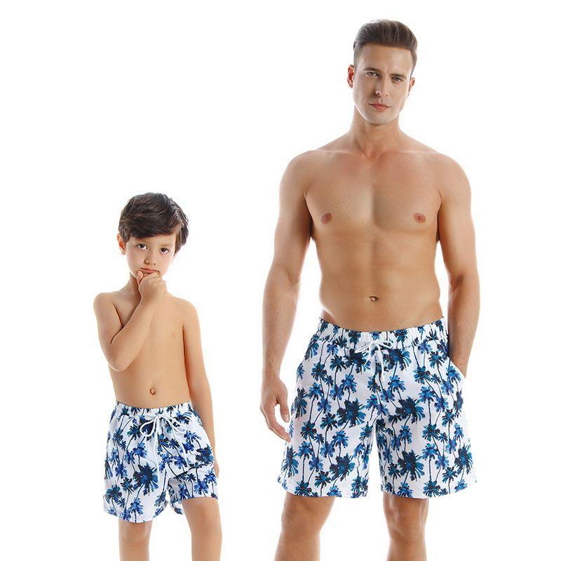 2021 Familia de verano juego de traje de baño 2-PCS conjuntos de natación de leopardo floral Padre hijo ropa E72