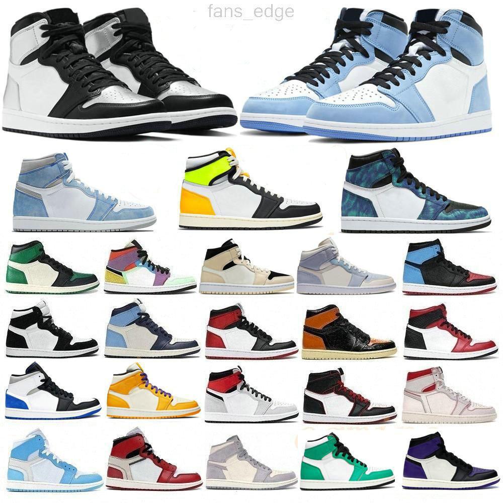 Yüksek Kaliteli Jumpman 1s Basketbol Ayakkabıları 1 Koyu Mocha Chicago Black Toe Barely Turuncu Üniversitesi Mavi Işık Duman Gri Gölge 2.0 UNC Spor Eğitmenleri Sneakers