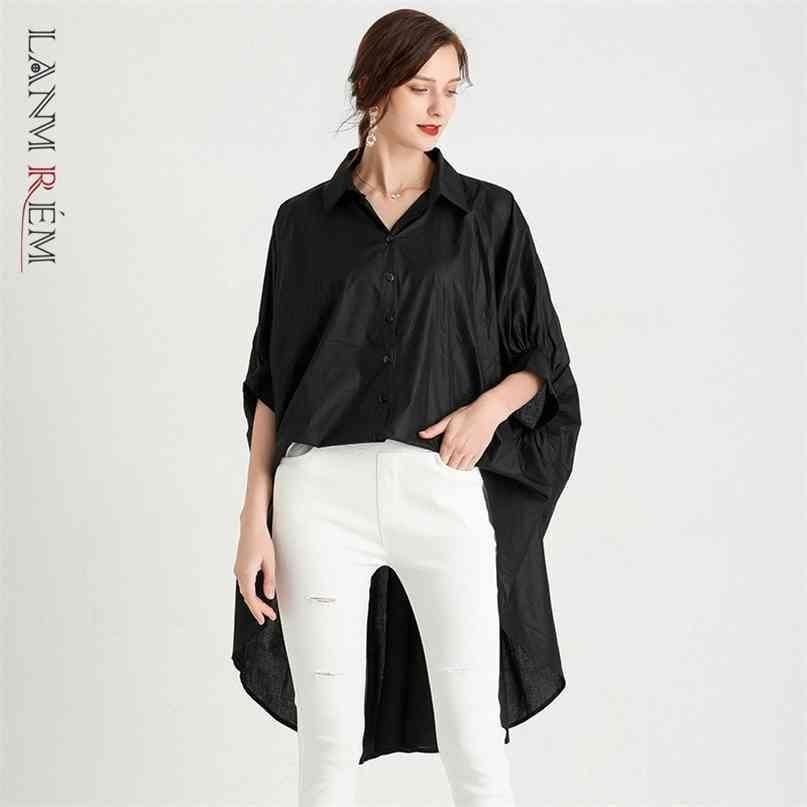 Chemises noires blanches irrégulières de taille plus irrégulière pour femmes Summer Vapel chemise chemise femelle manches courtes 2D3639 210527