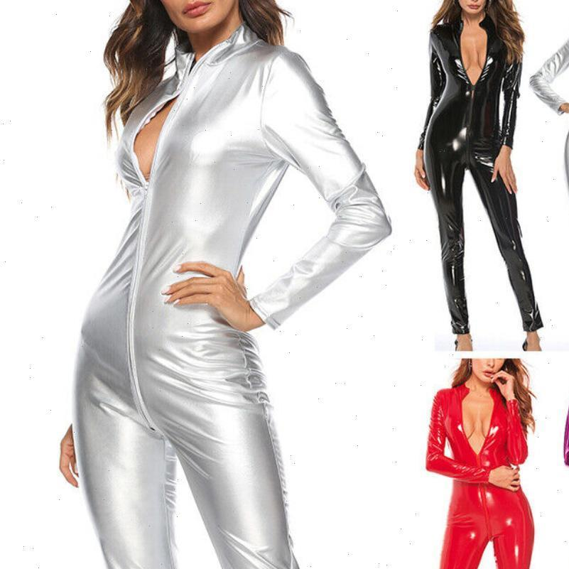 Mulheres Jumpsuit Cor Sólida Zipper Falha Patente Couro Bodysuit Tight Clubwear Grande para Outfits Club Party Cosplay