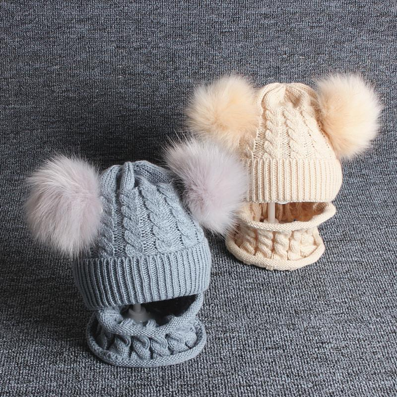 Caps & Hats 2Pcs Baby Hat Scarf Set Autumn Winter Born Girl Boy Beanie Cap Double Pompom Knitted Infant Toddler Solid Color Bonnet