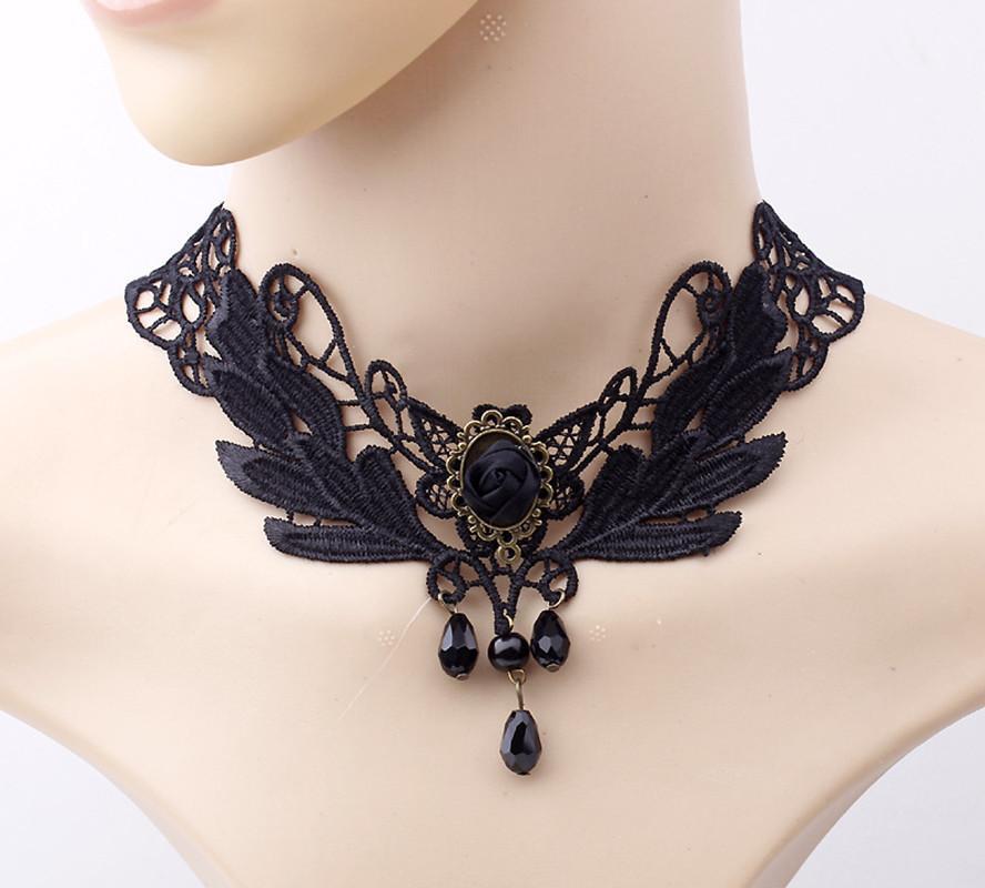 Nuevos collares Sexy Gothic Chokers Crystal Black Lace Cuello Gargantilla Collar Vintage Victorian Women Chocker Steampunk Jewelry Y0309
