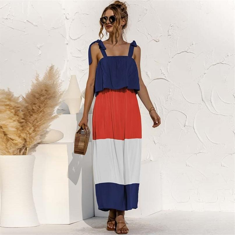 Lace-up Rüschen Kontrastfarbe Ärmellose A-Line Frauen Kleid Eleganter Slash Neck Spaghetti Strap Knöchellänge Casual 210603