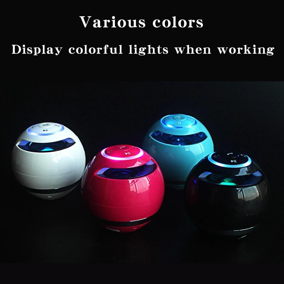 Bluetooth Speaker Mini Portable Wireless Soundbar Bass Boombox Sound Box with Mic TF Card FM Radio LED Light
