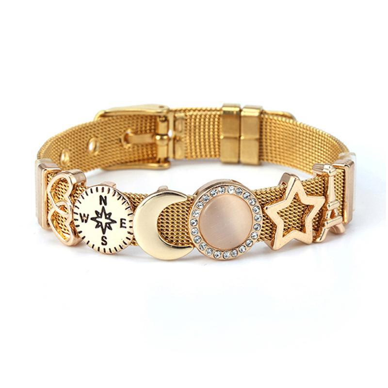 Charm Bracelets DIY Star & Moon Styles Slide Beads Fit 10mm Watch Keeper Mesh For Women Brand Simple Jewelry Gift