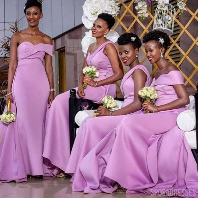 2021 Mor Nedime Elbiseler Kılıf Bir Omuz Korse Yukarı Geri Saten Artı Boyutu Onur Elbise Bedeni Elbise Afrika Düğün Konuk Partisi Abiye
