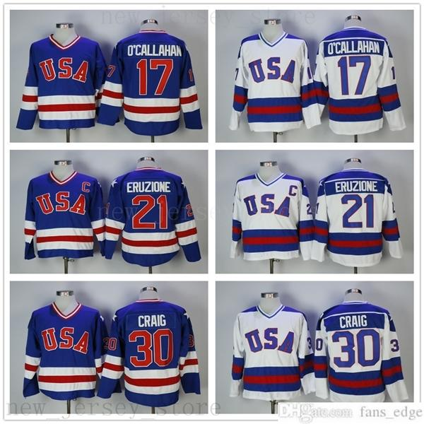 خمر 1980 USA Hockey Ice 21 Mike Eruzione Jersey رجل كلية 17 جاك Ocallahan 30 جيم كريج مخيط فريق اللون أزرق أزرق أبيض