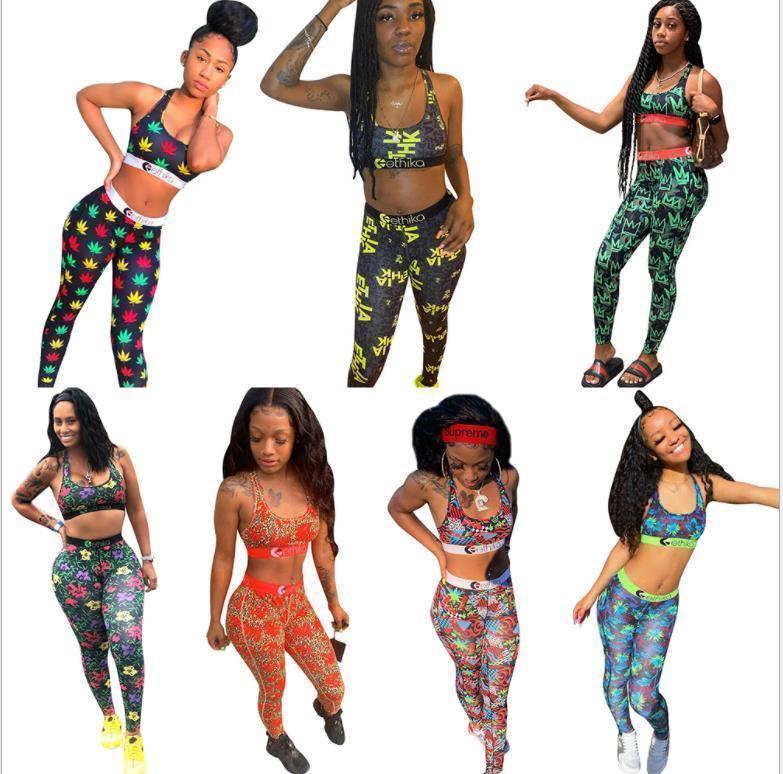 2021 летние женщины спортивные печати печать персонализированные камуфляжные бюстгальтерские брюки двух частей нарядов летний досуг костюм различные платформы 1359