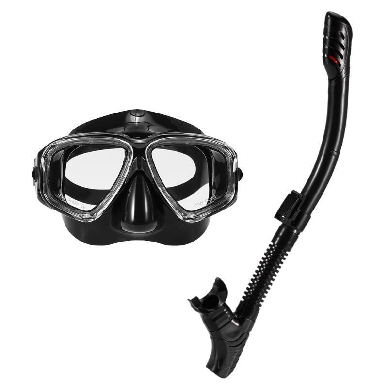 Adultos máscara de mergulho snorkel conjunto anti-nevoeiro snorkeling óculos de proteção de natação temperada lente de vidro para homens mulheres máscaras
