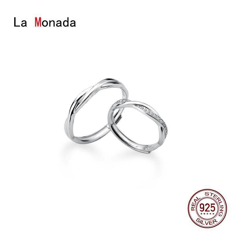 Anillos de dedo de La Monada Cross For Women Silver 925 Pareja de esterlina Amantes Anillo ajustable Cluster Minimalista