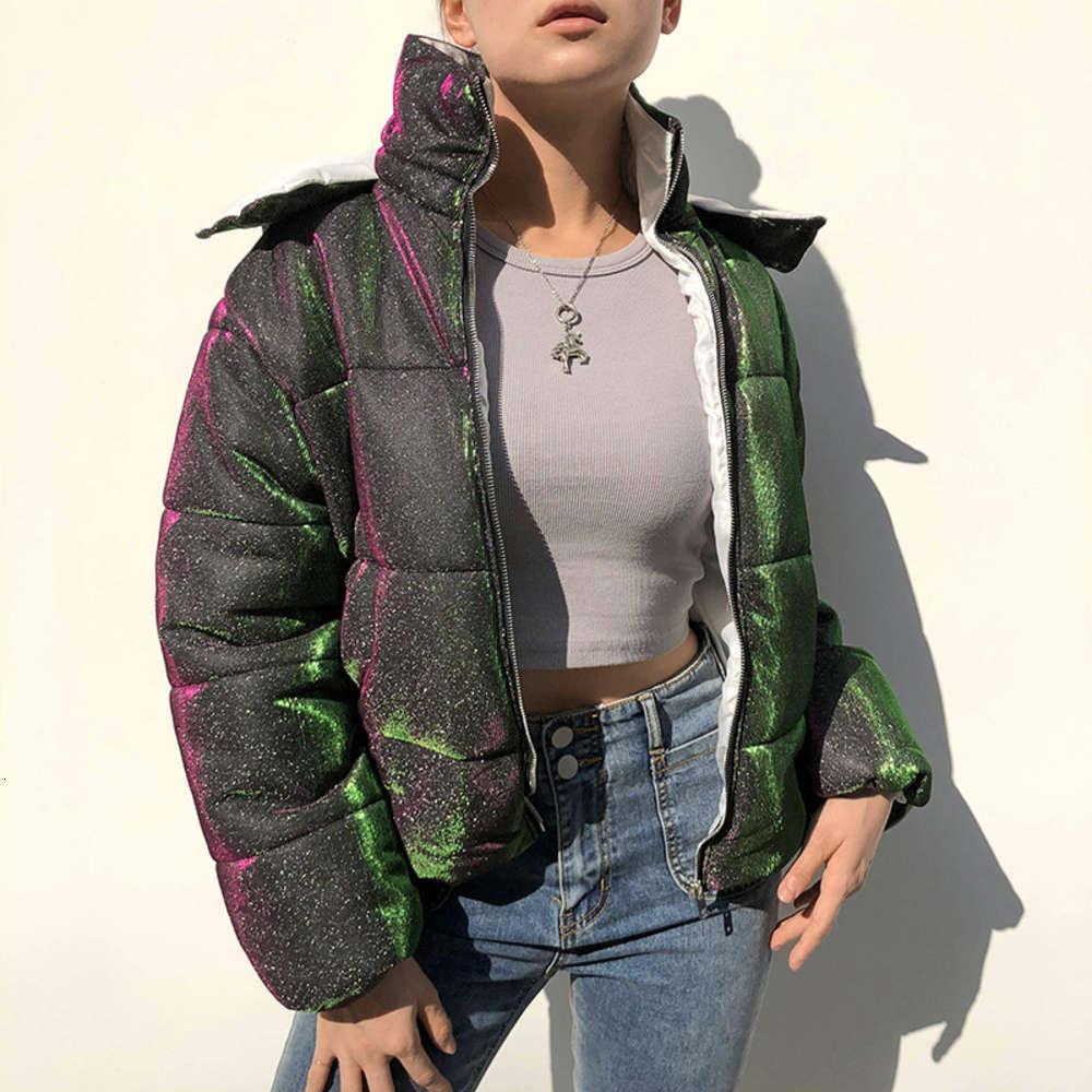 Bayanlar Ceket Kısa Sonbahar Ve Kış Üst Borçası Parlak Ince Kapşonlu Sıcak Ceket Rüzgar Geçirmez Pamuklu Giyim
