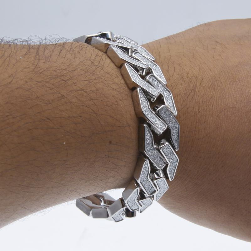 """Link, Chain Sand Blast Miami Curb Cuban Link Bracelets Hip Hop Jewelry Gold Silver Heavy Iced Out Bling Bracelet For Mens 8.5"""""""