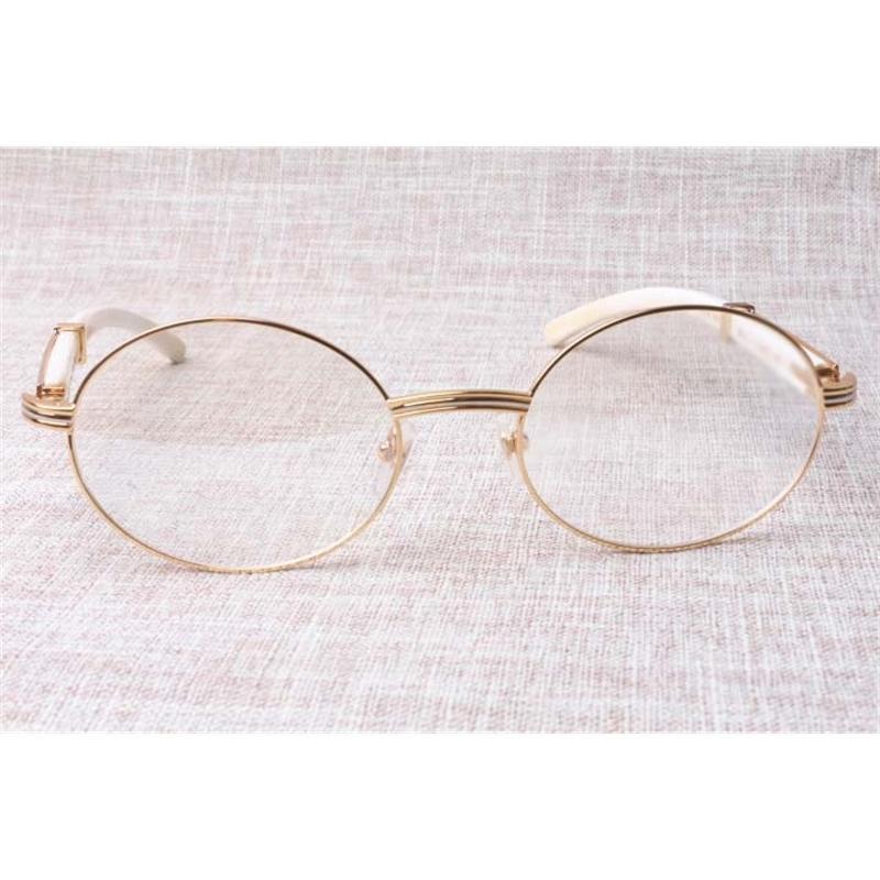 Usine directe de haute qualité de haute qualité lunettes de qualité marchandises 7550178 Blanc Buffalo Horn Spectacles Populaire lunettes Taille: 57-22-135 mm